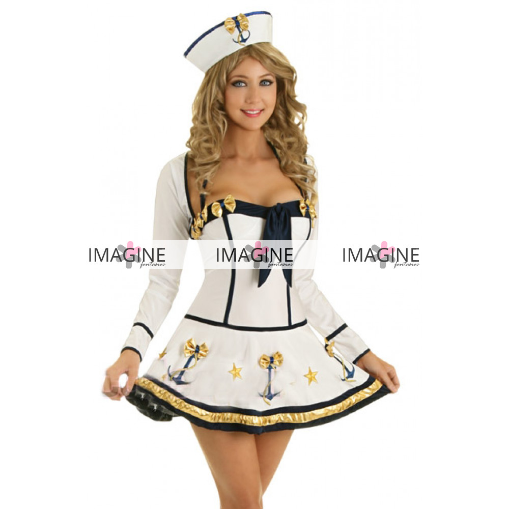 3ac001c27 Fantasia Marinheira White Luxo Imagine Fantasias