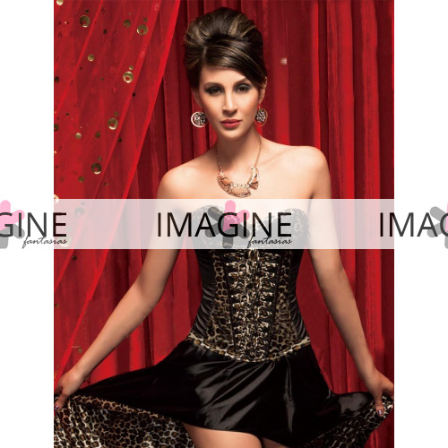 Fantasia Burlesque Corset Leopardo Pronta Entrega