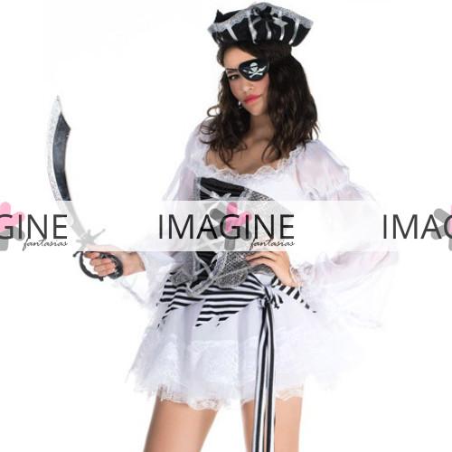 Fantasia Pirata White Luxo Pronta Entrega